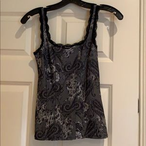black silver and grey fitted tank with some lace